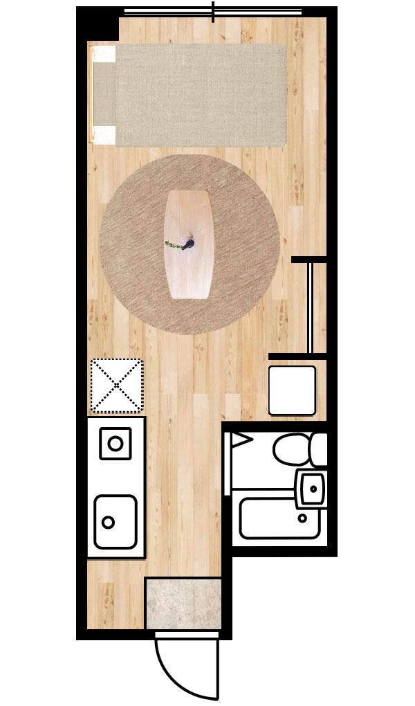 1K6畳の部屋 直径200cmの丸いラグ
