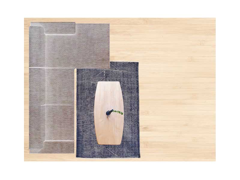 【6畳】カウチソファと120×180cmのラグ 配置イメージ