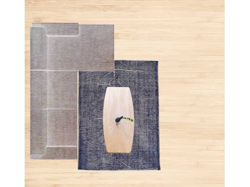 【8畳】カウチソファと150×200cmのラグ 配置イメージ