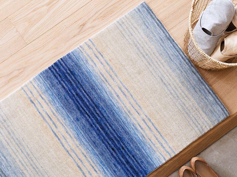 オリジナルラグ  玄関・キッチンマット ブルー/ER6177E-60B