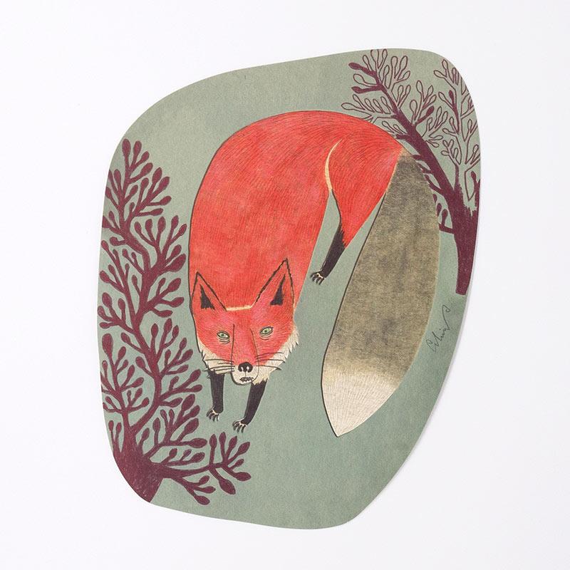 「moritaMiW] オリジナル・ポストカード 枯れ木の森と狐