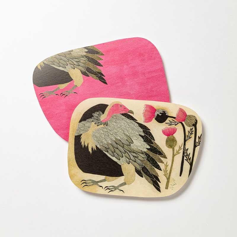 「moritaMiW] オリジナル・ポストカード 美しい色の鳥と美しい色の花