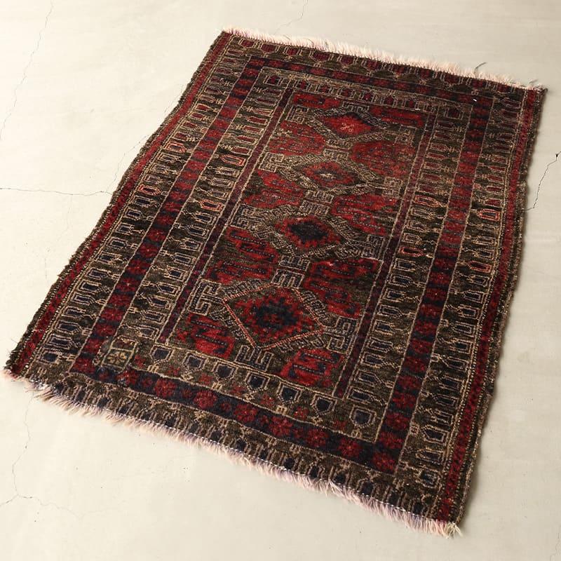 ヴィンテージラグ / バルーチ / アフガニスタン / 1970年代 / 91cm x 120cm / OR14-201201 濃く深い色合い