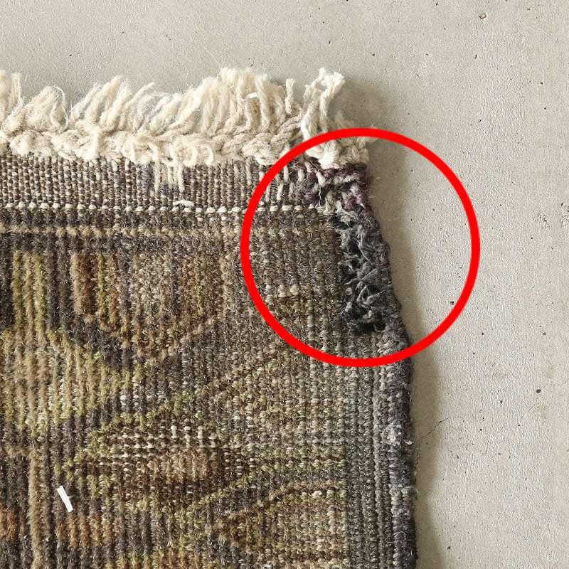 ヴィンテージラグ バルーチ / アフガニスタン / 1960年代 / 114 cm x 178cm / OR4-2012004 かがりの補修跡