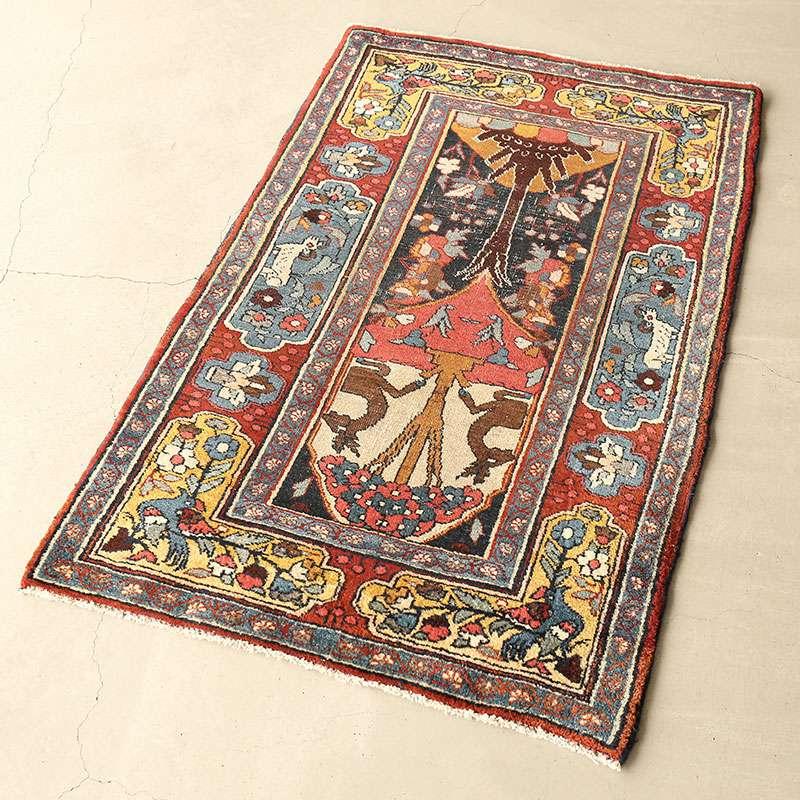 ヴィンテージラグ ビジャール / イラン / 1970年代 / 72cm x 117cm / OR49-3012010 淡く明るい色合い