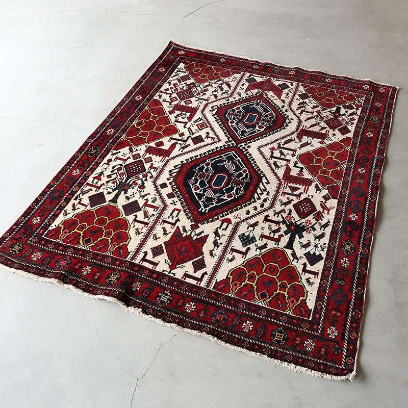 ヴィンテージラグ アフシャール / イラン / 1980年代 / 128cm x 165cm / OR59-3012020 濃く深い色合い