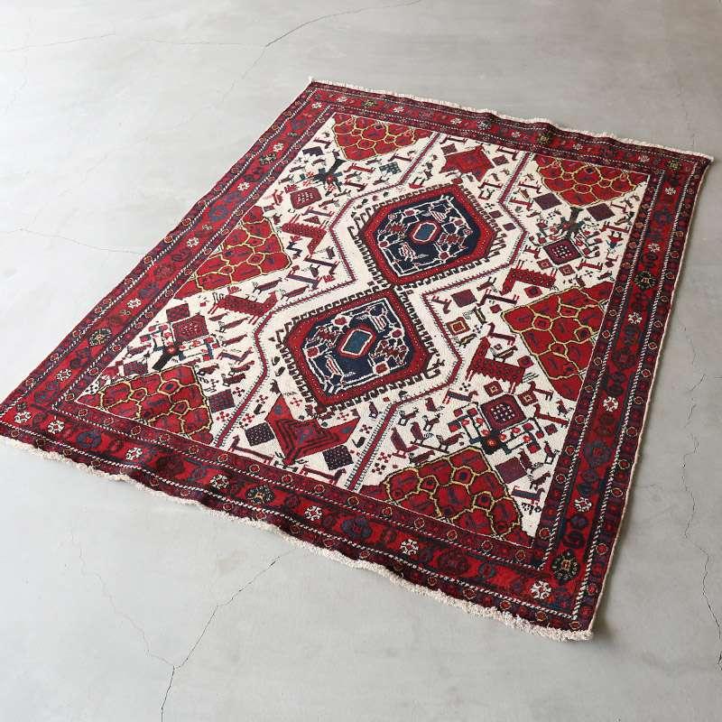 ヴィンテージラグ アフシャール / イラン / 1980年代 / 128cm x 165cm / OR59-3012020 淡く明るい色合い