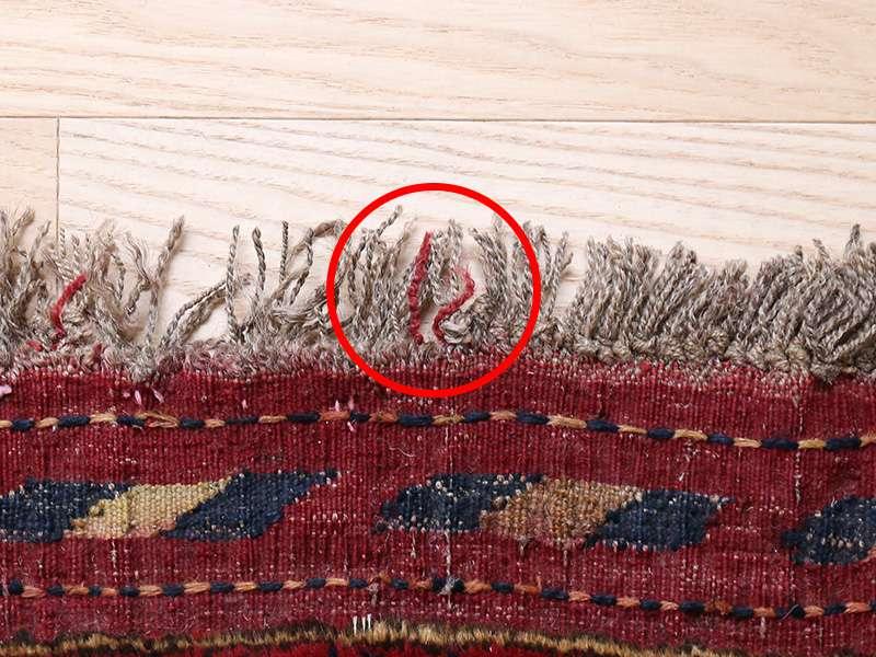 ヴィンテージラグ 1985年 アフガントルクメン族 ORf-2009006 フリンジに赤い糸