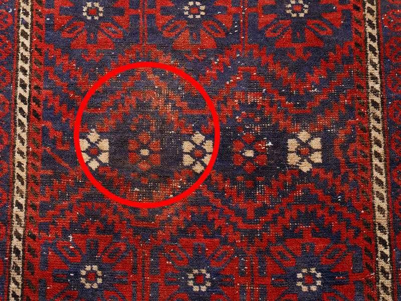 ヴィンテージラグ バルーチ / イラン / 1980年代 / 101cm x 190cm / ORj-2009010 汚れ