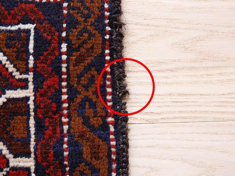 ヴィンテージラグ バルーチ / アフガニスタン / 1990年代 / 87cm x 116cm / ORp-2009016 かがりのほつれ