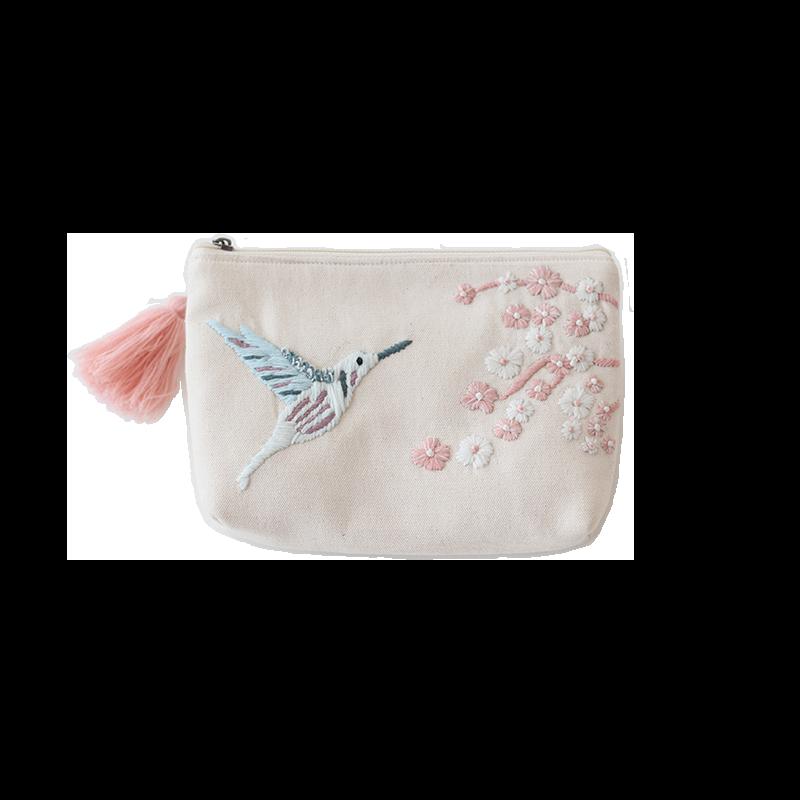 刺繍ポーチ バード