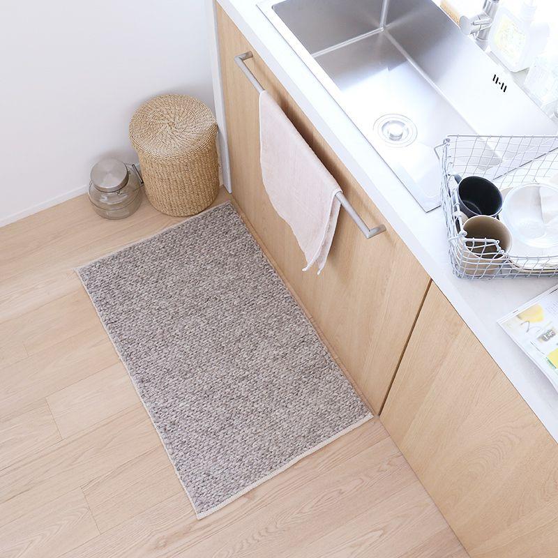 オリジナルラグ  玄関マット ライトグレー WW54E キッチン使用イメージ