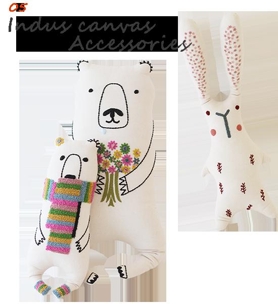 インダス帆布 手刺繍小物