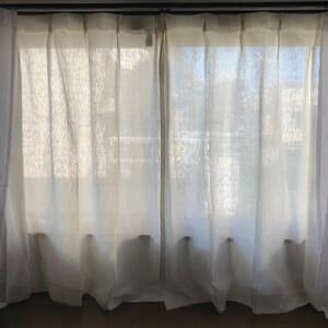 8a リネン100%ドレープカーテン / ホワイト